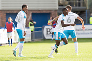 Crawley Town forward Beryly Lubala celebrates his goal during the EFL Sky Bet League 2 match between Macclesfield Town and Crawley Town at Moss Rose, Macclesfield, United Kingdom on 7 September 2019.