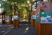 Interpretive signs at Bow Falls, Banff National Park, Alberta, Canada