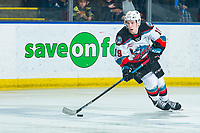 KELOWNA, BC - FEBRUARY 12: Ethan Ernst #19 of the Kelowna Rockets skates with the puck against the Tri-City Americans at Prospera Place on February 8, 2020 in Kelowna, Canada. (Photo by Marissa Baecker/Shoot the Breeze)