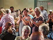 15 JULY 2019 - DES MOINES, IOWA: People give Senator Amy Klobuchar (D-MN) a standing ovation after her presentation at the first AARP Presidential Candidate Forum in Des Moines. The forum featured Senator Cory Booker, Governor John Hickenlooper, Senator Amy Klobuchar and Vice President Joe Biden. The AARP is hosting other forums for the rest of the Democratic field in other towns in Iowa this week. Iowa hosts the first event of the 2020 Presidential election cycle. The Iowa Caucuses are on February 3, 2020.       PHOTO BY JACK KURTZ