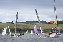Peelport Clydeport Largs Regatta Week 2013 <br /> <br /> Dinghy Fleet with CV Galatea, <br /> 18 Foot Skiff, GBR 12, Craig Hepplewhite with Catriona Annan and John Annan and Catermaran 154, Ninth Life, Hurricane 5.9, John Connelly, Hilary Connelly<br /> <br /> Largs Sailing Club, Largs Yacht Haven, Scottish Sailing Institute