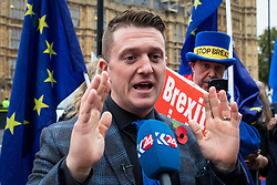 © Licensed to London News Pictures. 06/11/2018. London, UK. Right-wing activist Tommy Robinson in Westminster. Photo credit: Rob Pinney/LNP