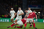 Twickenham, England, 7th March 2020, Tom CURREY, operating in mid-field, tackled by [L] Leon BROWN,  [R] Ken OWENS, during the Guinness Six Nations, International Rugby, England vs Wales, RFU Stadium, United Kingdom, [Mandatory Credit; Peter SPURRIER/Intersport Images]