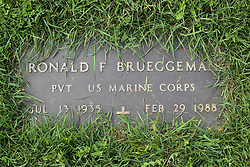 31 August 2017:   Veterans graves in Park Hill Cemetery in eastern McLean County.<br /> <br /> Ronald F Brueggema Private US Marine Corps Jul 13 1935 Feb 29 1988
