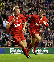 Photo. Jed Wee.<br /> Liverpool v Bolton Wanderers, FA Barclaycard Premiership, Anfield, Liverpool. 26/12/2003.<br /> Liverpool's Sami Hyypia (L) celebrates his goal with Igor Biscan.