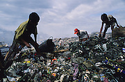 Asia, Philippines, Manilla, Smokey Mountain Rubbish dump. Children sifting throguh the rubbish. Thousands of poor and often indigenous people work sifting through the rubbish, recycling materials such as paper, various metal and plastic. They earn about $1 a day. The place is rife with disease.Photograph © Nigel Dickinson