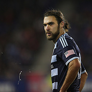 Graham Zusi, Sporting Kansas City,  during the New York Red Bulls V Sporting Kansas City, Major League Soccer Play Off Match at Red Bull Arena, Harrison, New Jersey. USA. 30th October 2014. Photo Tim Clayton