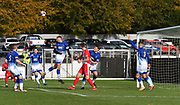 A great header from Liam Hughes of Matlock Town as he defends his net from Ashton United's corner kick during the Northern Premier League match between Matlock FC and Ashton United at the Proctor Cars Stadium on October 10th, 2020 in Matlock, Derbyshire. Local fans welcomed to watch the match maintaining Government's Covid-19 guidelines. (VXP Photo/ Shaun Hardwick)