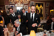 TOM FORD, Graydon Carter hosts a diner for Tom Ford to celebrate the London premiere of ' A Single Man' Harry's Bar. South Audley St. London. 1 February 2010