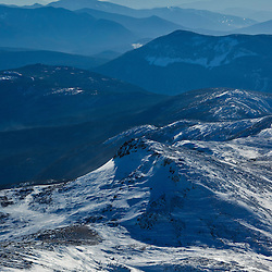 View of Mount Monroe from Mount Washington in New Hampshire's White Mountains.  WInter.