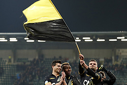 (L-R) Gianluca Nijholt of NAC Breda, Thierry Ambrose of NAC Breda, Rai Vloet of NAC Breda during the Dutch Eredivisie match between ADO Den Haag and NAC Breda at Cars Jeans stadium on March 10, 2018 in The Hague, The Netherlands