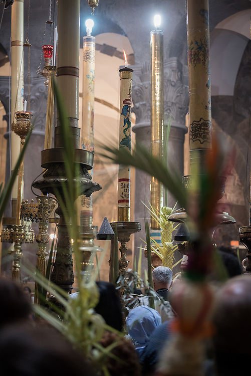 14 April 2019, Jerusalem: Procession during Palm Sunday service at the Church of the Holy Sepulchre, in the Old City of Jerusalem.