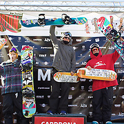 Men's Slopestyle winners, Mark McMorris, Canada, (centre), First Place,  Sebastien Toutand, Canada, (right), second place and Stale Sandbech, Norway, (left), third place, during the Men's Slopestyle Finals at the Burton New Zealand Open 2011 held at Cardrona Alpine Resort, Wanaka, New Zealand, 12th August 2011. Photo Tim Clayton