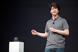 """Joe Britt, engineering director at Google, introduces the """"Nexus Q """", a small Android computer, which """"connects to all the media you have stored in the cloud"""", during the Google I/O Developer Conference in San Francisco, California."""