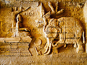 10 NOVEMBER 2014 - SITTWE, MYANMAR: A relief depicting the life of the Buddha on a wall in Lokananda Paya, the main Buddhist pagoda (paya) in Sittwe, Myanmar. The pagoda was dedicated in 1997. Sittwe is a small town in the Myanmar state of Rakhine, on the Bay of Bengal.    PHOTO BY JACK KURTZ