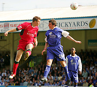 Photo:  Frances Leader.<br /> Gillingham FC v Cardiff City FC. Coca Cola Championship. <br /> Priestfield Stadium<br /> 30/04/05<br /> Cardiff's Paul Parry heads the ball into goal to score the second goal against Gillingham.