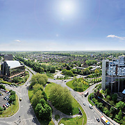 A landscape shot, photographed looking east over Basingstoke town, including Basing View,Festival Place and the Barclays mercantile building.