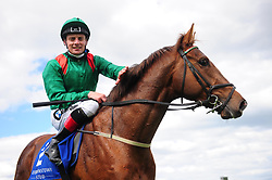 Hazappour and jockey Declan McDonogh pose after winning The Derrinstown Stud Derby Trial during Derrinstown Stud Derby Trial Day at Leopardstown Racecourse, Dublin.