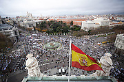 Looking down at the protesters from the Town Hall roof in Cibeles,Madrid.