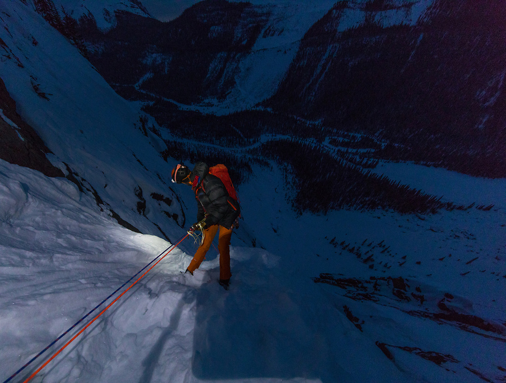 Rappeling Takakkaw Falls after a long day in -30c temperatures with Chris Petrauskas and Greg Barrett