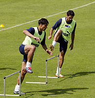 Lisbona - Lisboa 9/6/2004 <br />Allenamento della nazionale italiana.<br />Italy's national team training for Euro 2004 championship.<br />Bernardo Corradi e Stefano Fiore<br />Photo Graffiti