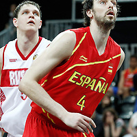 04 August 2012: Spain Pau Gasol vies for the rebound with Russia Timofey Mozgov during 77-74 Team Russia victory over Team Spain, during the men's basketball preliminary, at the Basketball Arena, in London, Great Britain.
