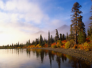 South shore of Lower Twin Lake on a misty autumn morning, Lake Clark National Park, Alaska.