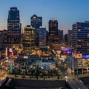 Kansas City Missouri downtown skyline at dusk aerial photo