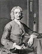 George Graham (1675-1751) English clockmaker and inventor.  Engraving after the portrait by Thomas Hudson (1701-1779).  In the background is part of a weight-driven clock with a mercury compensated pendulum, one of Graham's inventions.