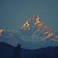 "6993m Machhapuchhare (""Fish Tail""), a sacred peak seen from Pokhara."