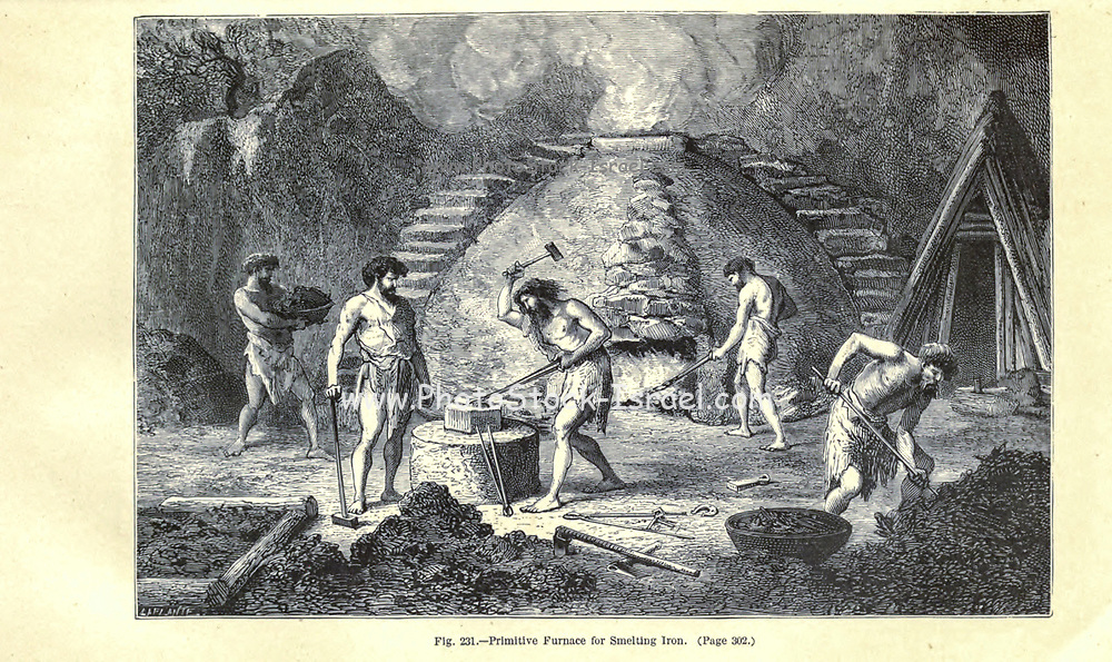 Iron Age furnace and smelting , according to the French illustrator Emile Bayard (1837-1891), illustration Artwork published in Primitive Man by Louis Figuier (1819-1894), Published in London by Chapman and Hall 193 Piccadilly in 1870