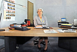 File Photo - EXCLUSIVE. French Minister Delegate for Foreign Trade, Christine Lagarde, poses in her office at the Ministry for Economy, Finance and Industry, in Paris-Bercy, France, on June 21, 2005. The European Council announced Tuesday that Lagarde, the current head of the International Monetary Fund, had been chosen to succeed Mario Draghi as president of the European Central Bank,, whose eight-year term ends in October. Photo by Nicolas Gouhier/ABACA.