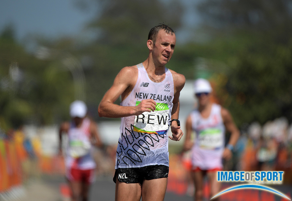 Aug 19, 2016; Rio de Janeiro, Brazil; Quentin Rew (NZL) places 12th in 3:49:32 in the 50km race walk during the Rio 2016 Summer Olympic Games at Pontal.