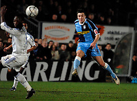 Photo: Richard Lane.<br />Wycombe Wanderers v Chelsea. Carling Cup, Semi Final 1st Leg. 10/01/2007. <br />Wtycombe's Russell Martin strikes at goal late on in the match.