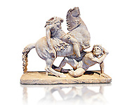 Roman Statue of an Amazon on horseback and a Barbarian, Circa mid 2nd cent AD excavated from the  Imperial villa near Faro, Italy. An Amazon perched on a rearing horse clashes with a barbarian who attempts to deal a final blow before dying. The work is based on a Hellenistic original from the Pergamon school from the second half of the 2nd cent. B.C, The group was displayed in the Imperial villa  with another of the same theme now in the Borghese collection. The National Roman Museum, Rome, Italy .<br /> <br /> If you prefer to buy from our ALAMY PHOTO LIBRARY  Collection visit : https://www.alamy.com/portfolio/paul-williams-funkystock/roman-museum-rome-sculpture.html<br /> <br /> Visit our ROMAN ART & HISTORIC SITES PHOTO COLLECTIONS for more photos to download or buy as wall art prints https://funkystock.photoshelter.com/gallery-collection/The-Romans-Art-Artefacts-Antiquities-Historic-Sites-Pictures-Images/C0000r2uLJJo9_s0