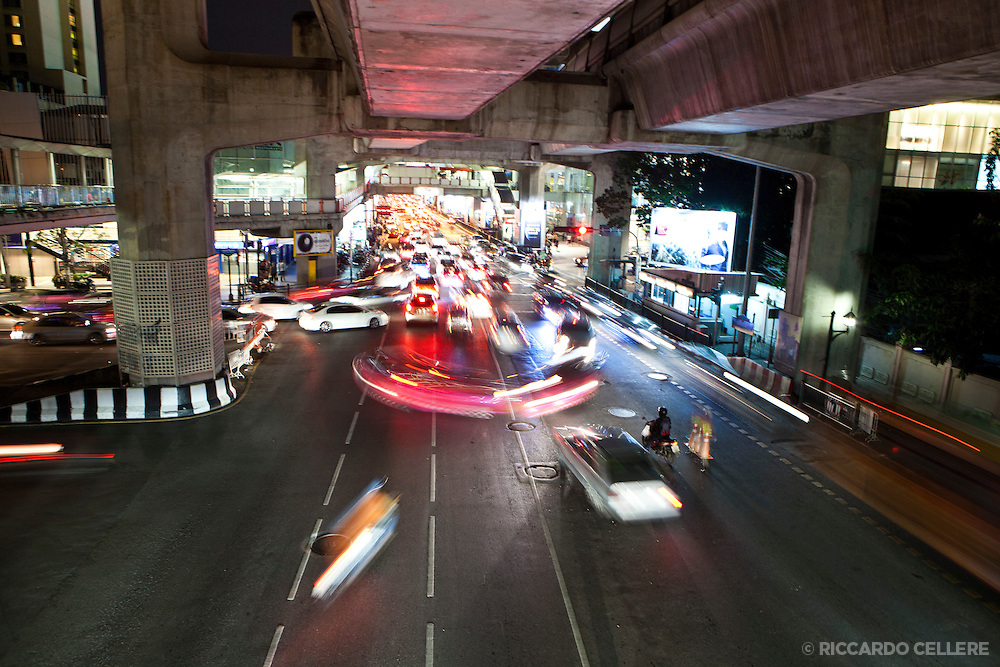 Night traffic in Bangkok's Silom district