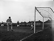 Cork Hibs Vs Jacobs. .1961..11.03.1961..03.11.1961..11th March 1961..The FAI Cup second round saw cork Hibernians pitted against  Jacobs works team at Rutland Avenue, Dublin...Image shows action from the second round of the FAI cup at Rutland Avenue, Dublin.
