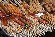 Food stalls at Tha Thien Express Boat station. Skewers.