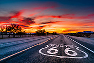 Sunset over the famous Route 66 in Chambless, California