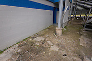 Entrance area to restrooms in disrepair in stadium at North Forest High School, February 23, 2015.