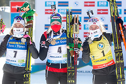 Tandervold Ingrid Landmark of Norway, Hauser Lisa Theresa of Austria and Tirill Eckoff of Norway celebrate at medal ceremony during the IBU World Championships Biathlon 12,5 km Mass start Women competition on February 21, 2021 in Pokljuka, Slovenia. Photo by Vid Ponikvar / Sportida