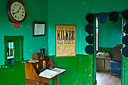 Restored booking hall in Moyasta station house with advertisement for Kilkee excursion, County Clare, West of Ireland