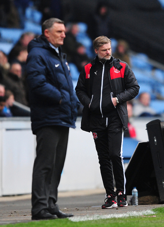Coventry City manager Tony Mowbray, left, and Fleetwood Town manager Steven Pressley <br /> <br /> Photographer Chris Vaughan/CameraSport<br /> <br /> Football - The Football League Sky Bet League One - Coventry City v Fleetwood Town - Saturday 27th February 2016 - Ricoh Stadium - Coventry   <br /> <br /> © CameraSport - 43 Linden Ave. Countesthorpe. Leicester. England. LE8 5PG - Tel: +44 (0) 116 277 4147 - admin@camerasport.com - www.camerasport.com