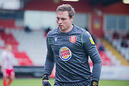 Stevenage goalkeeper David Stockdale (37) goes to collect the ball during the EFL Sky Bet League 2 match between Stevenage and Morecambe at the Lamex Stadium, Stevenage, England on 6 February 2021.