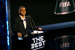 Mayor on London Sadiq Khan speaks on stage during the Best FIFA Football Awards 2017 at the Palladium Theatre, London.