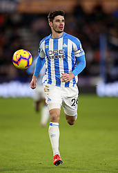 """Huddersfield Town's Christopher Schindler during the Premier League match at the John Smith's Stadium, Huddersfield. PRESS ASSOCIATION Photo. Picture date: Tuesday January 29, 2019. See PA story SOCCER Huddersfield. Photo credit should read: Nigel French/PA Wire. RESTRICTIONS: EDITORIAL USE ONLY No use with unauthorised audio, video, data, fixture lists, club/league logos or """"live"""" services. Online in-match use limited to 120 images, no video emulation. No use in betting, games or single club/league/player publications"""