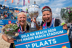 Raïsa Schoon and Katja Stam win gold in the final against Madelein Meppelink/Sanne Keizer. The Final Day of the DELA NK Beach volleyball for men and women will be played in The Hague Beach Stadium on the beach of Scheveningen on 23 July 2020 in Zaandam.