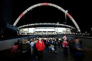 a general view of Wembley Stadium after the match as fans leave. FIFA World cup qualifying match, european group F, England v Malta at Wembley Stadium in London on Saturday 8th October 2016.<br /> pic by John Patrick Fletcher, Andrew Orchard sports photography.