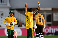 Imad Wasim of Nottinghamshire celebrates taking a wicket during the Vitality T20 Blast North Group match between Nottinghamshire County Cricket Club and Leicestershire County Cricket Club at Trent Bridge, Nottingham, United Kingdom on 4 September 2020.