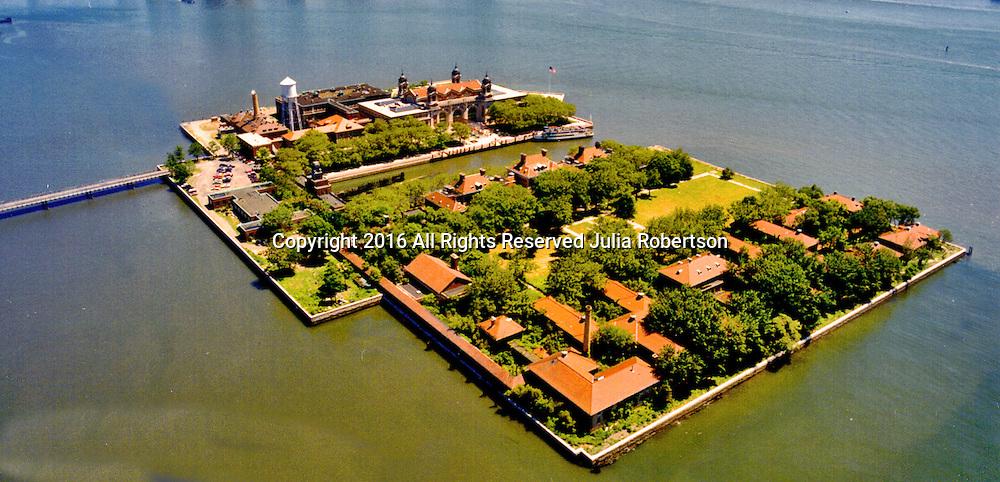 Aerial view Ellis Island Immigration Museum,   New York Harbor